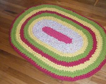 Bright Colors Crochet Rag Rug\Bright Colors Nursery Rug\Bright Colors Girls Bedroom\Vibrant Colors Rug