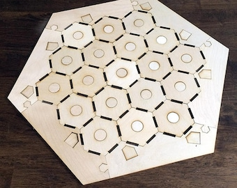 "Blank 3-4 Player Settlers of Catan Game Board with Tokens, Notched Style - Unfinished Birch Plywood 1/8"" or 1/4"""