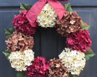 Burgundy Red, Cream and Brown Artificial Hydrangea Wreath with Bow for Late Summer Fall Front Door Porch Decor; Small - Extra Large Sizes