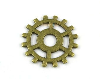 30Pcs Antique Brass Gear Charm Gear Pendant Gear Connector 25mm (PND1290)