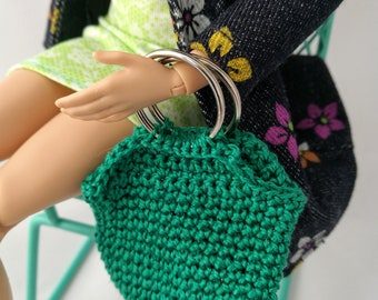 Barbie doll purse, handbag, green. Doll fashion