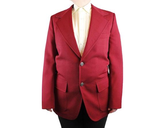 Mens Vintage Blazer 38R 70s Dark Burgundy Red Jacket Coat Herringbone Texture Free US Shipping 8vqMti