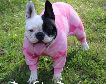 Pink Argyle Print Dog Fleece- med size only