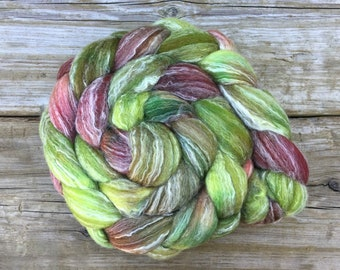 SW Merino Bamboo Nylon Roving Hand Dyed for Spinning ORCHARD - soft burgundy magenta chartreuse olive green red panda