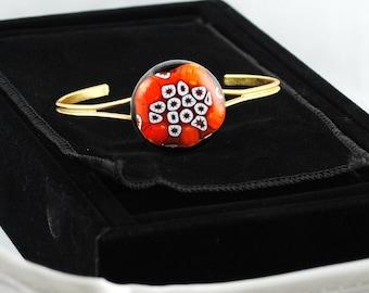 For Artists Exposed Bracelet Fused Glass Orange Millifiore OOAK