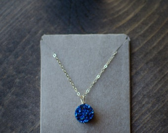 The Genevieve : cobalt blue druzy necklace (gold fill chain)