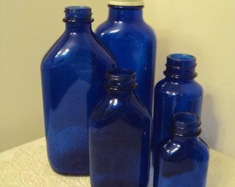 Vintage Cobalt Blue Bottle Collection, lot of 5, 3 Phillips, 1 Bromo Seltzer, I unmarked