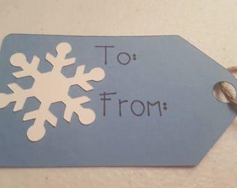 Handmade Christmas Gift Tag, Snowflake Gift Tag, Holiday Gift Tag, Blue and White Snowflake Gift Tag, 10 Pack Christmas Gift Tag, 10 Pack