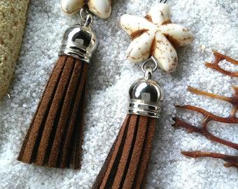 Starfish and tassel earrings, dangle earrings, brown leather tassel earrings, beach earrings, boho earrings, silver earrings