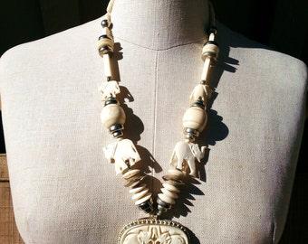 Carved Bone Elephant Necklace - Vintage Ethnic - Big Statement Piece - Large Tribal Necklace - Elephant Necklace - Boho Ethnic
