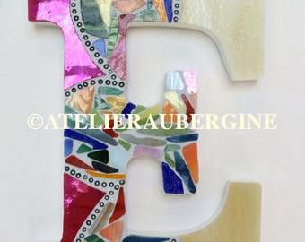 Letter E # 8 stained glass mosaic