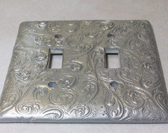 Silver Swirls double toggle light switch cover