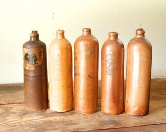 Rustic Display Primitive Antique Salt Glazed Stoneware Crock Jug Bottles Mineral Seltzer Water Wine Liquor Germany Amsterdam