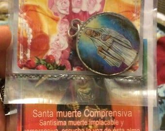 Santa Muerte Folk Saint Charm, Grim Reaper, with Prayer
