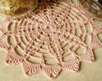 Small crochet doily Dusty pink doily Handmade cotton lace doily Crochet doilies coasters 422