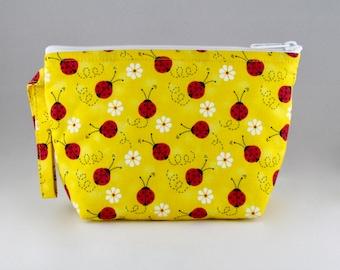 Yellow Ladybug Makeup Bag - Accessory - Cosmetic Bag - Pouch - Toiletry Bag - Gift