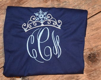 Frozen Crown Embroidery Shirt Shown is Navy Blue