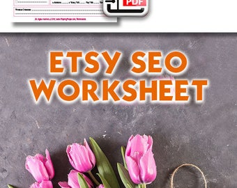 SEO Worksheet For Etsy Sellers, Search Engine Optimization, Marmalead, Etsy SEO Help, How To Sell On Etsy, Keywords, Tags, Categories, PDF