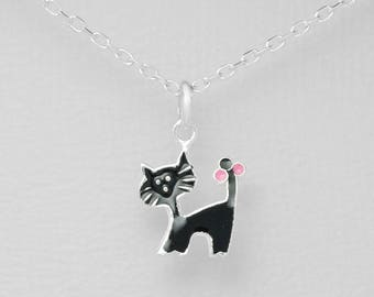 Silver 925 cat pendant with black enamel