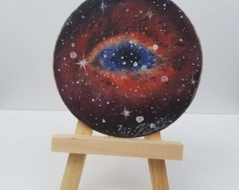 "Eye of truth. Original tiny oil painting. Helix Nebula. Tiny easel included. 2""x2"" small painting"