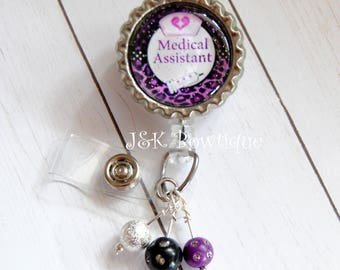 Nurse badge reel, Medical Assistant badge reel, retractable badge reel, Purple badge reel, nurse badge reel, id holder, badge reel nurse