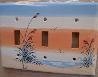 Sand Dune with Sea Oats Triple Lightswitch Cover