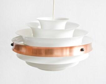 White pendant lamp, copper lamp, dining room lamp, white kitchen lamp