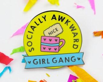 Gift for friend girl gang badge, funny gift for best friend, girl gang enamel pin, introvert enamel pin, introvert pin, girl gang pin badge