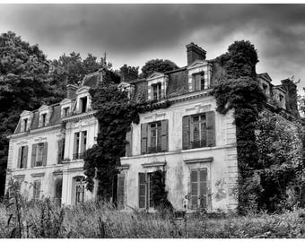 Print of an abandoned castle in France, Urbex, abandonment, fine art photography, wall art, home decor, gift idea, decoration