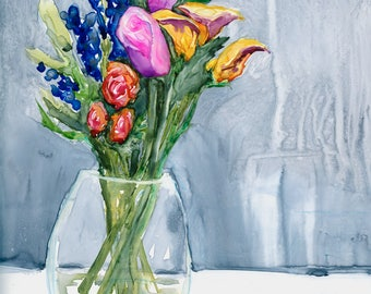 The Artist's Life - Original Watercolor Painting on Yupo - Still Life