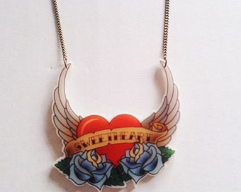 Sweetheart Rose Winged Angel Heart Summer Festival Tattoo Necklace