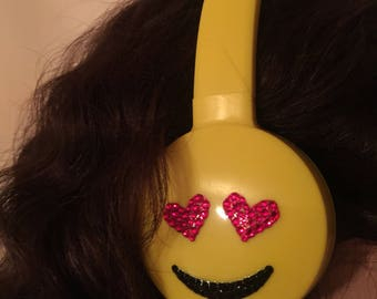 Swarovski encrusted LOVE emoji headphones