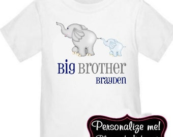 Big Brother Elephant Personalized T-Shirt Boys Big Brother Shirt
