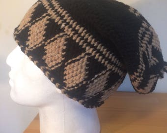 Hand made warm long black slouchy hat