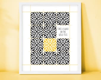 "Framed Print "" Take a walk on the wild tile "", Tiles, Patterns, Morocco, Modern, Yellow, Black, Wall art, Decor"