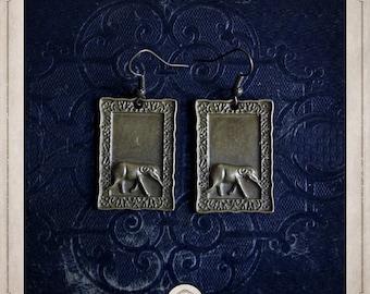 ELEPHANTS in frames earrings bronze BOB064