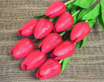 10/20/30 Stems Dark Red Real Touch Artificial Tulip for Wedding, Party or Home Decorative Flower Arrangement - DIY Bouquet Table Centerpiece