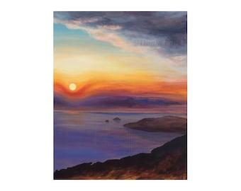 Sunrise, clouds, sea, sky: art metal print of acrylic painting, yellow, orange, purple, aqua, peach, by Kauai artist Donia Lilly - Oneando