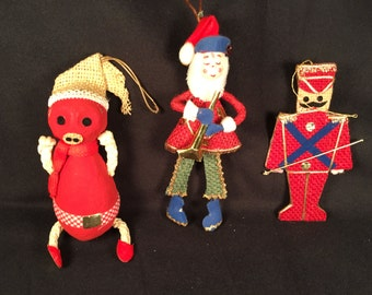 Vintage mid century red blue burlap Christmas ornaments,pig,soldier, elf playing horn Mr.Christmas