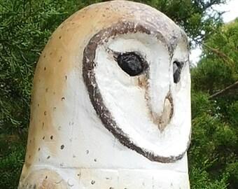 Barn Owl - Hand Carved Totem