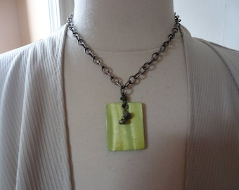"SILPADA Retired Green MOP and Pyrite Pendant on 18"" Oxidized Textured Wide Link Sterling Cable Chain, Catalog N1133"