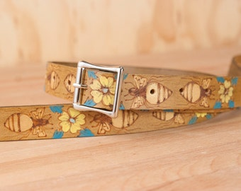 Mandolin Strap - Leather with Bees and flowers in gold, turquoise and antique brown - Melissa Pattern