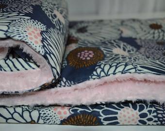 Large Floral Baby Girl Blanket