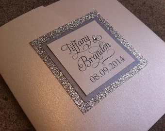 Silver and Ivory Glitter Wedding Invitation / Pocketfold Wedding Invitation with No-Transfer Glitter Backing. Fully Customizable