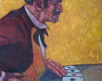 "Portrait of a Gambler - Oil on Linen - 28"" x 19.5"" x 2.00"""