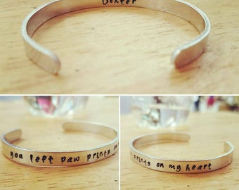 You Left Paw Prints On My Heart - Hand Stamped Aluminum Cuff Bracelet - Custom - Unique - Gift - Pet Memorial - Loss - Memory