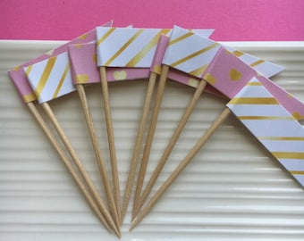 Pink and Gold Cupcake Toppers / Party Picks / Food Picks / set of 24