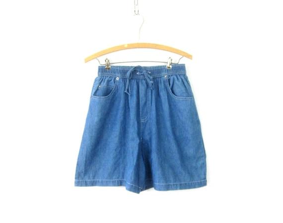 Drawstring Jean Shorts 90s Elastic Waist Blue Denim Shorts MOM Shorts with Pockets Vintage Beach Shorts Relax Wear Women Medium Large