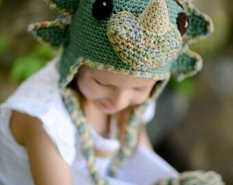 Triceratops Crochet Hat, Dinosaur, Newborn Hat, Photo Prop,