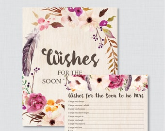 Wishes for the Soon to Be Mrs - Printable Boho Bridal Shower Wishes for the Bride to Be - Printable Bohemian Wedding Shower Wishes - 0006